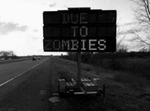 Road closed due to zombies